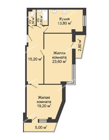 2 комнатная квартира 80 м² - ЖК Дом на Береговой