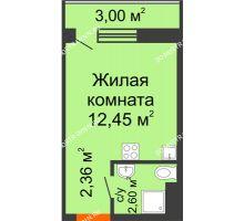 Студия 17,41 м² в ЖК Торпедо, дом № 16 - планировка