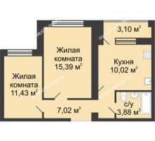 2 комнатная квартира 49,29 м² в ЖК Удачный, дом № 3