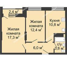 2 комнатная квартира 50,3 м², Жилой дом: ул. Сазанова, д. 15 - планировка