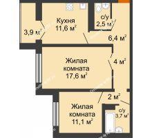 2 комнатная квартира 60,1 м² в ЖК Крымский квартал, дом позиция 1 - планировка