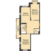 2 комнатная квартира 73,45 м², ЖК Шаляпин - планировка