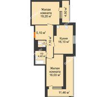 2 комнатная квартира 77,58 м² в ЖК Корица, дом № 1 - планировка