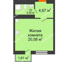 Студия 28,69 м² в ЖК Мечников, дом ул. Таврическая, 4 - планировка