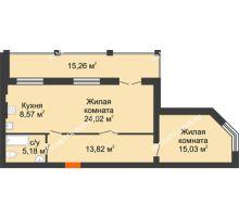 2 комнатная квартира 74,25 м² в ЖК Свобода, дом 2 очередь