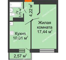 1 комнатная квартира 36,19 м², ЖК Зеленый берег Life - планировка