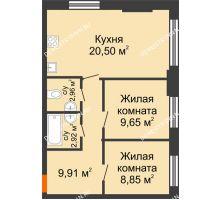 2 комнатная квартира 54,79 м², ЖК КМ Флагман - планировка