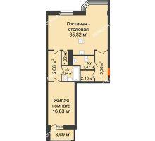 2 комнатная квартира 76,45 м², ЖК Дом на Гребешке - планировка
