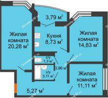 3 комнатная квартира 74,98 м² в ЖК по ул. Космонавтов, 23в , дом Позиция 1 - планировка