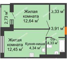1 комнатная квартира 43,73 м² - ЖК Олимпийский
