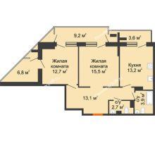 2 комнатная квартира 70,8 м² - ЖК на ул. Греческого Города Волос, 82