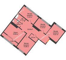4 комнатная квартира 113,05 м², ЖК Сердце - планировка