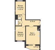 2 комнатная квартира 58,67 м² в ЖК Французский квартал, дом Корпус 6-11