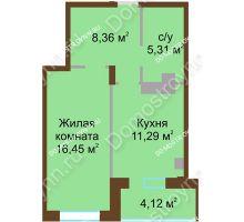 1 комнатная квартира 45,53 м² в ЖК Солнечный город, дом на участке № 208 - планировка