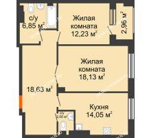 2 комнатная квартира 73,37 м², Дом премиум-класса Коллекция - планировка