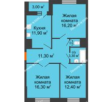 3 комнатная квартира 74,1 м² в ЖК Левенцовка парк, дом Корпус 8-5 - планировка