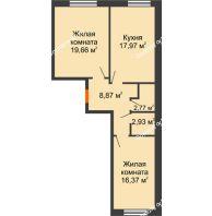 2 комнатная квартира 68,57 м², ЖК Две реки - планировка