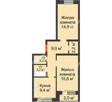 2 комнатная квартира 57,6 м² - ЖК Дом на Нижегородской