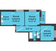 3 комнатная квартира 61,97 м² - ЖК Каскад на Путейской