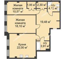 2 комнатная квартира 82,43 м² в ЖК Премиум, дом №1