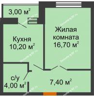 1 комнатная квартира 39,8 м² в ЖК Елецкий Лайт , дом № I-14 - планировка