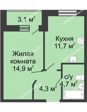 1 комнатная квартира 37,15 м² в ЖК Цветы, дом № 10