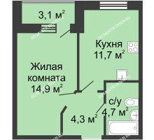 1 комнатная квартира 37,15 м² в ЖК Цветы, дом № 10 - планировка