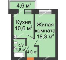 1 комнатная квартира 39,1 м², Жилой дом по ул. Львовская, 33а - планировка