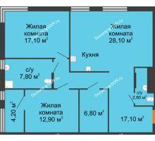 3 комнатная квартира 94,8 м², ЖК Островский - планировка