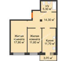 2 комнатная квартира 61,7 м² в Микрорайон Европейский, дом №9 блок-секции 1,2 - планировка