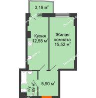 1 комнатная квартира 39,65 м² в ЖК Сердце Ростова 2, дом Литер 1 - планировка