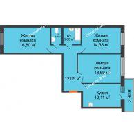 3 комнатная квартира 81,49 м² в ЖК Бограда, дом № 2 - планировка