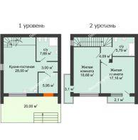 2 комнатная квартира 91 м² в Клубный посёлок Панорама, дом Гангутская, 18 (таунхаусы 115м2 и 91м2) - планировка