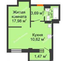 Студия 37,23 м² в ЖК Дом с террасами, дом № 6 - планировка
