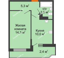 1 комнатная квартира 35,5 м², ЖК Акварели-3 - планировка