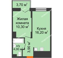 1 комнатная квартира 36,25 м² в ЖК КМ Анкудиновский парк, дом № 16 - планировка