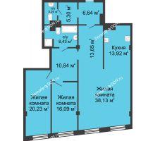 3 комнатная квартира 136,47 м², ЖК Гранд Панорама - планировка