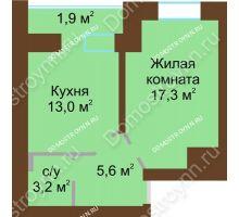1 комнатная квартира 42,9 м² в ЖК Рубин, дом № 67