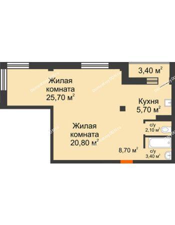 2 комнатная квартира 68,1 м² - ЖК Южная Башня