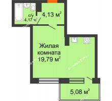 Студия 37,17 м² в ЖК Гвардейский 3.0, дом Секция 2 - планировка