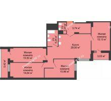 4 комнатная квартира 114,73 м² в ЖК Карамель, дом № 1 - планировка