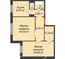 2 комнатная квартира 61,38 м² в ЖК Иннoкeнтьeвcкий, дом № 6 - планировка