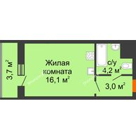 Студия 27 м², ЖК Космолет - планировка