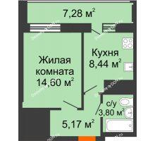 1 комнатная квартира 35,65 м² в ЖК Встреча, дом № 1 - планировка