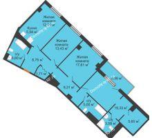 3 комнатная квартира 116,35 м², Клубный дом ГРАН-ПРИ - планировка