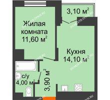 1 комнатная квартира 35,15 м² в ЖК КМ Анкудиновский парк, дом № 16 - планировка