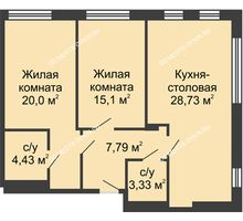 2 комнатная квартира 79,32 м² в ЖК TRINITY (Тринити), дом № 1 - планировка