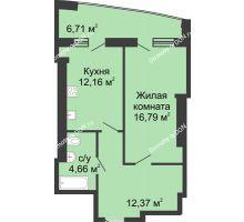 1 комнатная квартира 53,4 м² в ЖК Тихий Дон, дом № 1 - планировка