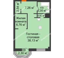1 комнатная квартира 61,65 м², ЖК Дом на Гребешке - планировка