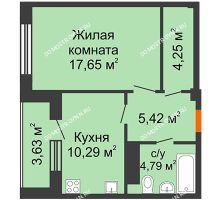 1 комнатная квартира 44,21 м² в ЖК Облака, дом № 2 - планировка